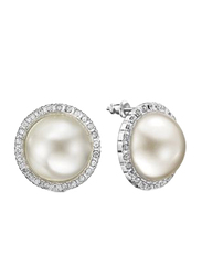 Avon Rubin Stud Earrings for Women, White/Silver