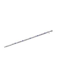Avon Khimberly Emrald Look Chain Bracelet for Women, Silver/Blue