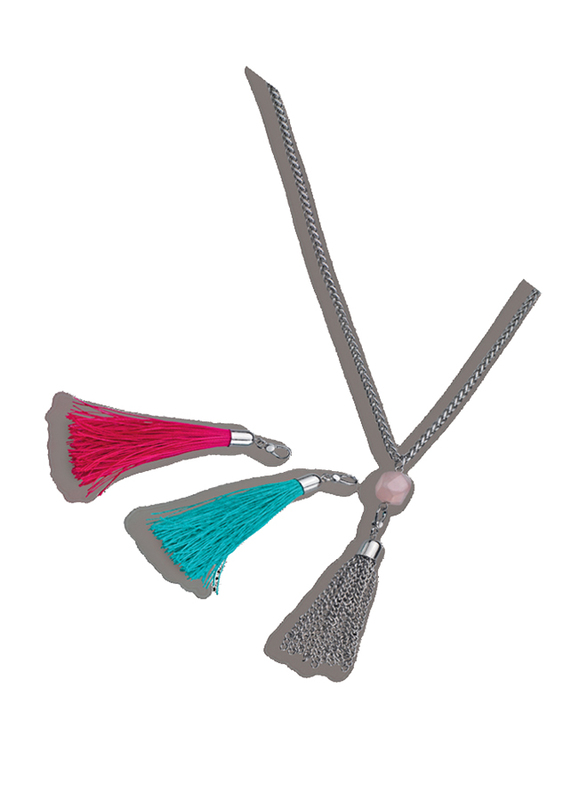 Avon 2-Piece Caitlyn Fringe Necklace for Women with Fringe Earrings, Silver/Pink