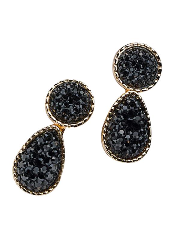 Avon Rishelle Drop Earrings for Women, Black/Gold