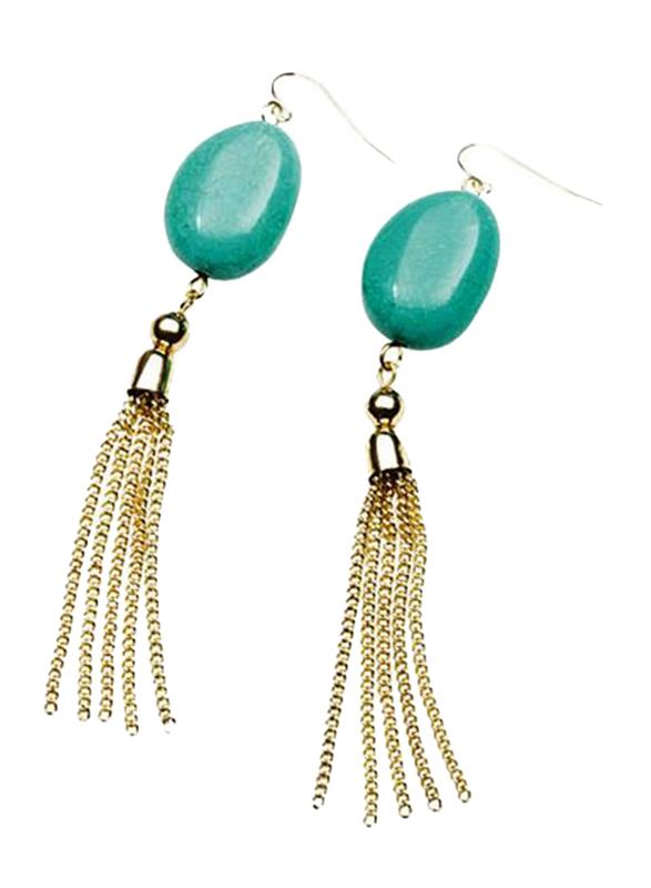 Avon Dalla Metal Drop Earring for Women, Green/Gold