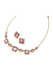 Avon 2-Piece Sonja Necklace Set for Women, with Bib Earrings, Pink/Gold