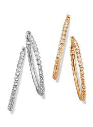 Avon 2-Piece Dancing Shimmer Hoop Earrings Set for Women, Gold/Silver