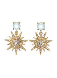 Avon Starburst Drop Earrings for Women, Gold/White