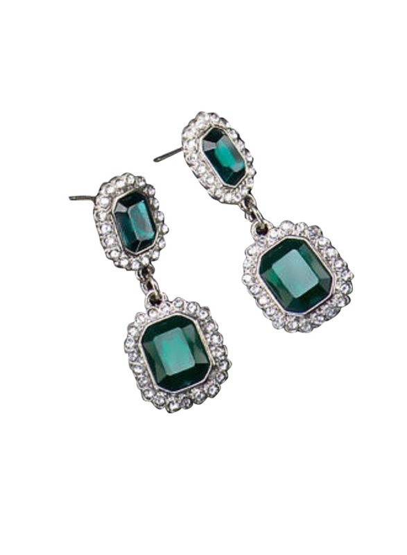 Avon Camile Radiant Dangle Earring for Women, with Emerald Stone, Green/Silver
