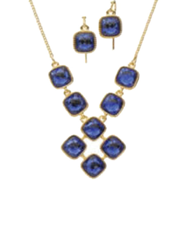 Avon 2-Piece Toast of The Town Jewellery Gift Set for Women, with Bib Necklace and Earrings, Blue/Gold