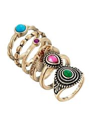 Avon 5-Piece Enya Ring Set for Women, Gold, Sizes 3/4/6/7/8/9