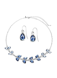 Avon 3-Piece Tamia Bib Necklace Set for Women, with Earrings, Blue/Silver