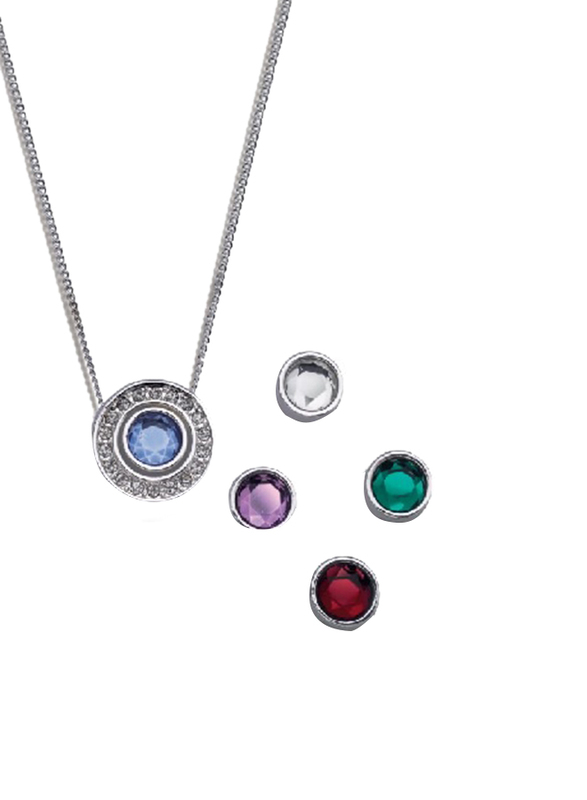 Avon Ivey Beau Interchangeable Pendant Necklace for Women, with 4 Stones, Silver