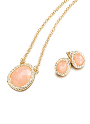 Avon 2-Piece Lara-Rose Jewellery Gift Set for Women, with Pendant Necklace and Earrings, Orange/Gold