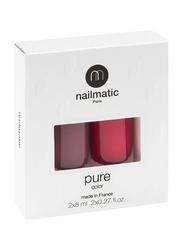 Nailmatic 2-Piece Pure Color Nail Polish Duo Set, 16ml, Misha Plum Brown/Paloma Intense Raspberry, Multicolor