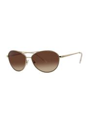 Badgley Mischka Caroline Full Rim Aviator Gold Sunglasses for Women, Brown Lens, 57/15/140