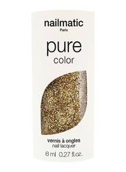 Nailmatic Pure Color Plant-Based Nail Polish, 8ml, Bonnie Rose Gold Glitter, Gold