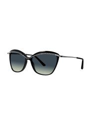 Badgley Mischka Jacquelyn Full Rim Cat Eye Black Sunglasses for Women, Black Lens, 56/16/140