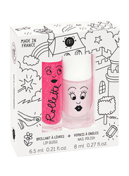 Nailmatic Kids 2-Piece Holidays Duo Set, Polly Nail Polish and Raspberry Lip Gloss, Light Pink Glitter/Raspberry, Multicolor