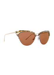 Badgley Mischka Janae Full Rim Cat Eye Rose Gold Sunglasses for Women, Brown Lens, 55/18/135