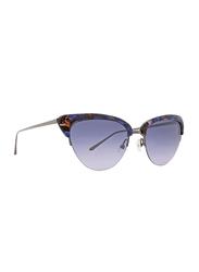 Badgley Mischka Janae Full Rim Cat Eye Sapphire Blue Sunglasses for Women, Blue Lens, 55/18/135