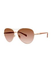 Badgley Mischka Melina Full Rim Aviator Gold Sunglasses for Women, Rose Gold Lens, 59/15/140