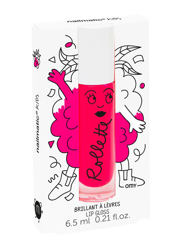Nailmatic Kids Lip Gloss, 6.5 ml, Raspberry Rollette, Pink