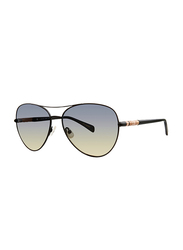 Badgley Mischka Melina Full Rim Aviator Black Sunglasses for Women, Black Lens, 59/15/140