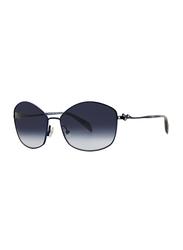 Badgley Mischka Lynette Full Rim Hexagonal Black Sunglasses for Women, Dark Grey Lens, 60/16/130