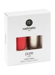 Nailmatic 2-Piece Pure Color Nail Polish Duo Set, 16ml, Amour Red Shimmer/Gala Gold, Multicolor