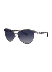 Badgley Mischka Doriane Full Rim Cat Eye Gun Metal Sunglasses for Women, Plum Lens, 56/14/135