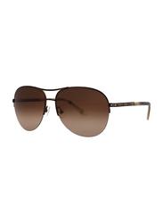 Badgley Mischka Emile Full Rim Aviator Toffee Sunglasses for Women, Brown Lens, 59/15/135