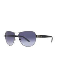 Badgley Mischka Philise Full Rim Aviator Gun Metal Sunglasses for Women, Blue Lens, 61/15/130
