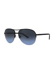 Badgley Mischka Emile Full Rim Aviator Black Sunglasses for Women, Blue Lens, 59/15/135