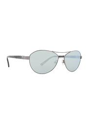 Badgley Mischka Elena Full Rim Aviator Gun Metal Sunglasses for Women, Blue Lens, 58/15/140
