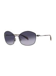 Badgley Mischka Lynette Full Rim Hexagonal Gun Metal Sunglasses for Women, Navy Blue Lens, 60/16/130
