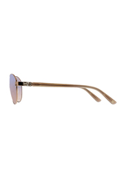 Badgley Mischka Elena Full Rim Aviator Rose Gold Sunglasses for Women, Purple Lens, 58/15/140