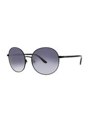 Badgley Mischka Noemie Full Rim Round Black Sunglasses for Women, Blue Lens, 55/16/130