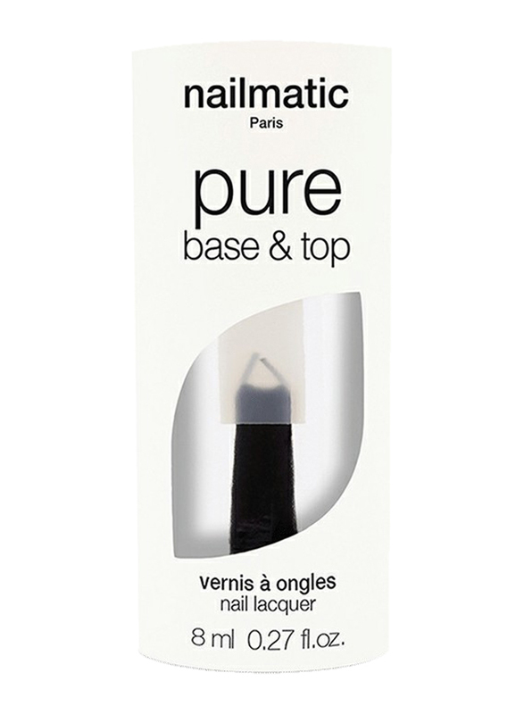 Nailmatic Pure 2-in-1 Color Plant-Based Base & Top Coat Manicure, 8ml, Clear