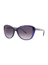 Badgley Mischka Petra Full Rim Cat Eye Sapphire Blue Sunglasses for Women, Purple Lens, 56/16/135