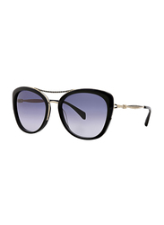 Badgley Mischka Adrienne Full Rim Butterfly Black Sunglasses for Women, Blue Lens, 55/17/135