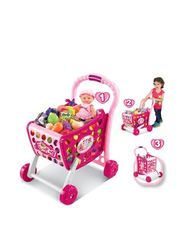 LB Toy Smiles Creation 3-in-1 Shopping Cart with Fruits & Vegetables Toy, Pink, Ages 3+