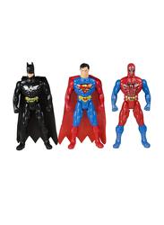 LB Toys 31cm Super Heroes Spiderman/Superman/Batman Adjustable Body Figurine Toys Set, 3 Pieces, Ages 3+