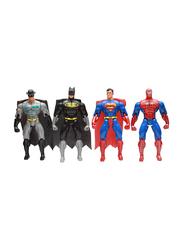 LB Toys 65cm Super Heroes Spiderman/Superman/Batman/Zorro Adjustable Body Figurine Toys Set, 4 Pieces, Ages 3+