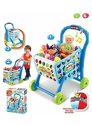 LB Toy Smiles Creation 3-in-1 Shopping Cart with Fruits & Vegetables Toy, Blue, Ages 3+