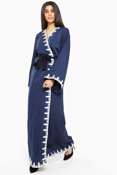 Nukbhaa Wrap Style Embroidered Abaya with Hijab, Navy Blue, 3XL