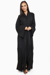 Nukhbaa Open Front Embroidered Lace Abaya with Hijab, Black, Medium
