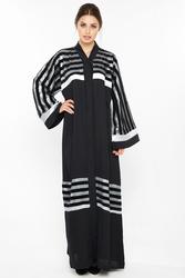 Nukbhaa Silver Striped Abaya with Hijab, Black, Medium