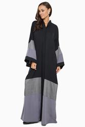 Nukhbaa Wide Satin Striped Abaya with Hijab, Black, Medium