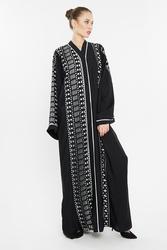 Nukhbaa Laser Cut Print Abaya with Hijab, Mediumulticolour, XXS