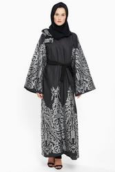 Nukhbaa Print Silver Embelished Embroidered Abaya with Hijab, Black, Small