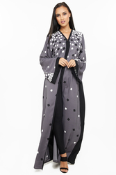 Nukhbaa Scattered Square Print Abaya with Hijab, Grey, Small