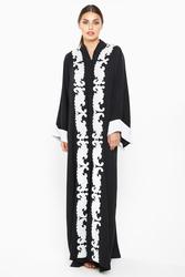 Nukhbaa Leaf Print Abaya with Hijab, Black, XS