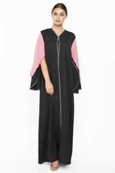 Nukhbaa Cape Crochet Abaya with Hijab, Black, 2XL